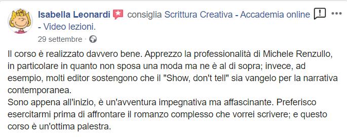 Isabella Leonardi Testimonial scrittura creativa